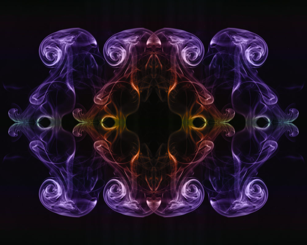 Smoke art NFT in purple red and green