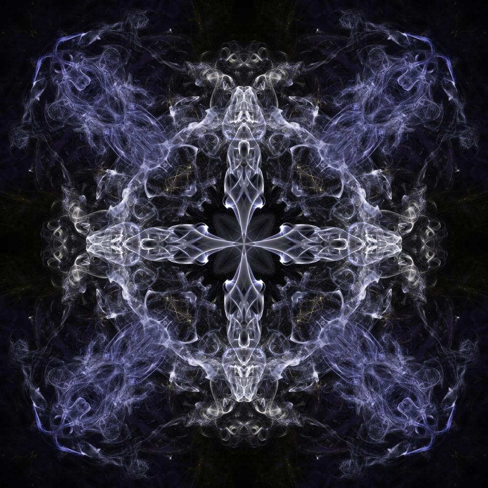 5054 - Cold Steel Cross abstract smoke art